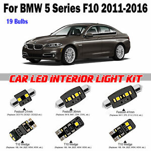 19pcs Deluxe White LED Interior Light Package Kit For BMW 5 Series F10 2011-2016