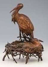 Antique Viennese Bronze - Stork's Nest - Franz Xaver Bergmann signed