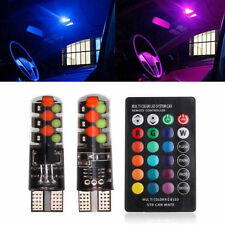 2PCS T10 COB RGB LED 6SMD Car Wedge Side Multicolor Light Bulbs w/Remote Control