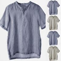 Mens Linen Causal Short Sleeve T Shirt V Neck Summer Beach Loose Tops Tee Shirts