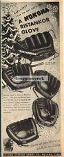 "1952 NOKONA ""Ristankor"" Baseball Gloves VTG PRINT AD"