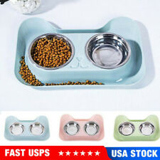 Double Dog/Cat Pet Bowls Dish Stainless Steel Feeder Cat Food Water Bowl Us