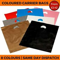 COLOURED PLASTIC CARRIER BAGS - HANDLE SHOP GIFT RETAIL BOUTIQUE STRONG PARTY