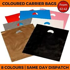 Coloured Plastic Carrier Bags Handle Shop Gift Retail Boutique Strong Party