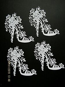 10 x New: Tattered Lace High Heel Shoe with Flower Detail Die Cuts : White Set 3