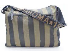 Vintage Fendi Penquin Stripe Brown Canvas Webbed Shoulder Strap Tote Bag