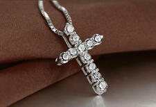 Crystal Cross Necklace 925 Sterling Silver Plate Pendant Jesus Chain Ladies