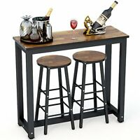 3 Piece Pub Table Set Bar Stools Kitchen Dining Furniture Counter Height Chairs