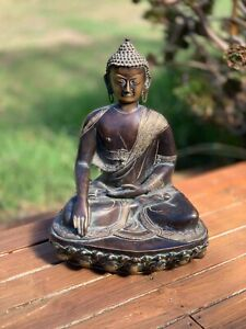 Large Brass Buddha Statue Hand Crafted In Nepal Unique One Of A Kind Buddha Idle