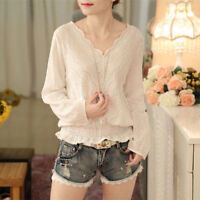 Korean Women Lady Fashion Long Sleeve Slim Lace Hollow V Neck Shirt Blouse Tops