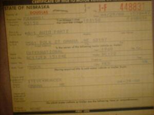INTERNATIONAL 1960  TRUCK BC172 Vintage Historical Document, Nebraska Auto Title