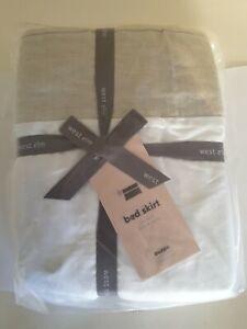 West Elm Belgian Linen Bed Skirt. Natural Flax. QUEEN SIZE. NEW