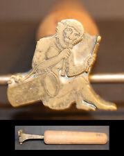 RARE grand Fer à Dorer SINGE JOUEUR DE TAMBOUR Bronze relieur reliure #109
