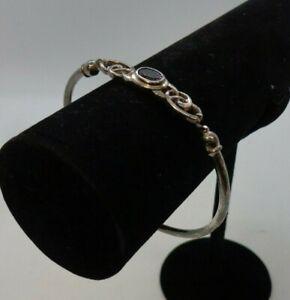 Sterling Silver 925 Amethyst Stone & Celtic Bangle Bracelet In Gift Box VGC #113