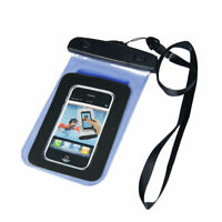 Water Resistant Bag Case Blue + Neck Lanyard + Armband for iPhone 4 4G 4S