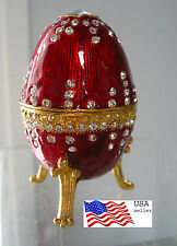 """Jeweld Trinket Box Footed  Egg Russian Style Red 3 3/8""""(8cm) Lion claw"""