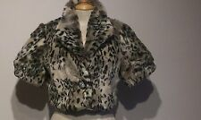 Immaculate-River Island-Short Sleeve Leopard Print Fur Bolero Jacket-Size 8