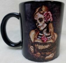 Daveed Benito art coffee mug sugar skull and lace dark goth