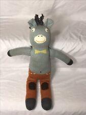 "Blabla Horse Plush Blue Orange Knit 18"" Stuffed Animal Toy"