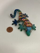 Small Hand Painted Metal Gecko Lizzard-4.5�