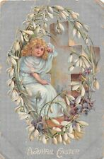 1909 Easter Postcard - Wreath of Snowdrops & Violets Around Pretty Angel & Cross