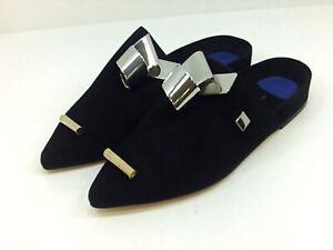 Stuart Weitzman Womens galastud Fabric Pointed Toe Casual Slide, Black, Size 7.0