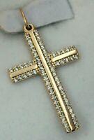 Amazing Vintage Original Rose Gold 14K 585 Orthodox Cross With Cubic Zirconia