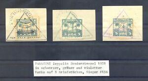 PARAGUAY 1931 -PM - ZEPPELIN - 3 DIF COLOURS