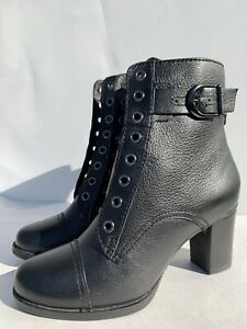 Clarks Jolissa Gypsum Womens 5 Black Leather Ankle Boots Block Heel Toe Size 5 M