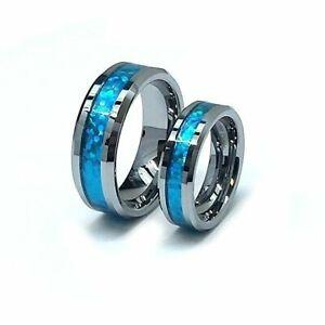 Men & Lady 8MM/6MM Tungsten Carbide Hawaiian Opal Blue Inlay Wedding Band Ring