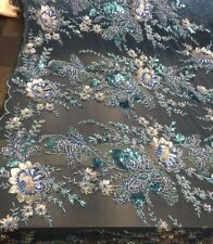 Lt.Blue Mesh Embroider With Multi Color Flowers Embroider And Beaded Lace Fabric