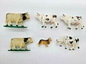 G GAUGE 6 BARNYARD ANIMALS. INCLUDES FOUR CATTLE AND ONE COLLIE.
