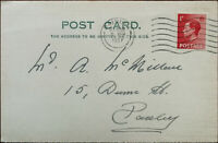 Antique Postcard with King George VI 1D Stamp Posted 9th April 1937
