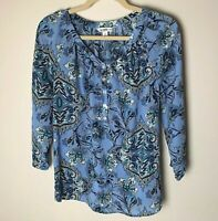 Croft & Barrow Women's Top Size Small Popover Blouse Floral 3/4 Sleeves Blue