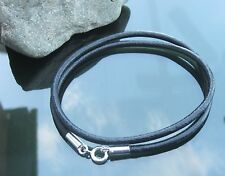3 Mm Doble De Cuero Genuino Negro Pulsera O Collar Con 925 Plata Broche Extremos