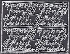SCRIPT CHRISTMAS SILVER MESSAGE GREETING FOIL  DRESDEN GERMAN PAPER COLLAGE FOIL