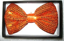 180 ORANGE Sequin Tuxedo Style Adjustable Bow Ties-Brand New without Boxes!!!