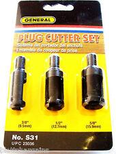 3pc GENERAL SELF EJECTING PLUG CUTTER DRILL BIT SET S31 23036 3/8 1/2 5/8 WOOD