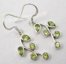 "925 Solid Silver Genuine PERIDOT Multi Stone PLANT LEAF Earrings 1.5"""