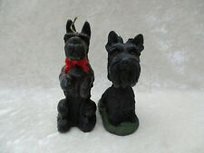Pair of Black Scottish Terrier Dogs - Bobblehead and Wax Candle