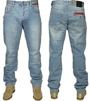 Mens Straight Leg Jeans Designer ETO EM549 Blue Stone Wash Pants Waist 28 -38
