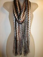 Scarf Wrap Shawl Black Brown Silver Metallic Knit Fringe Cocktail Party Cover Up