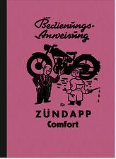 Zündapp Comfort 1953 Bedienungsanleitung Handbuch Betriebsanleitung User Manual