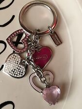 Coach Pink Crystal Jem Heart Keychain Fob Rare