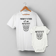 Proud Father of an Autotot, Father & Son matching T-shirt & Baby Grow Set