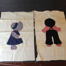2 Handmade Applique  Quilt Blocks Sunbonnet Sue & Sam