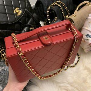 vintage chanel vanity case with shoulder strap red lambskin box bag