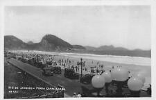 RPPC RIO DE JANEIRO BRAZIL PRAIA COPACABANA CARS REAL PHOTO POSTCARD