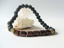Bracelet élastique obsidienne acajou / pierres de lave  perles 6 mm - brun gemme