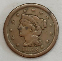 1853 Large Cent Matron Braided Hair 1C High Grade Details US Copper Coin 30621